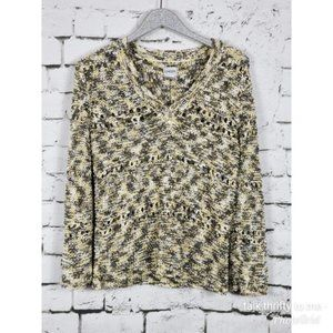CHICO'S | Open-Knit V-Neck Sweater Size Medium